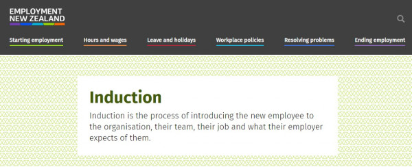 Employment NZ Induction of new employees